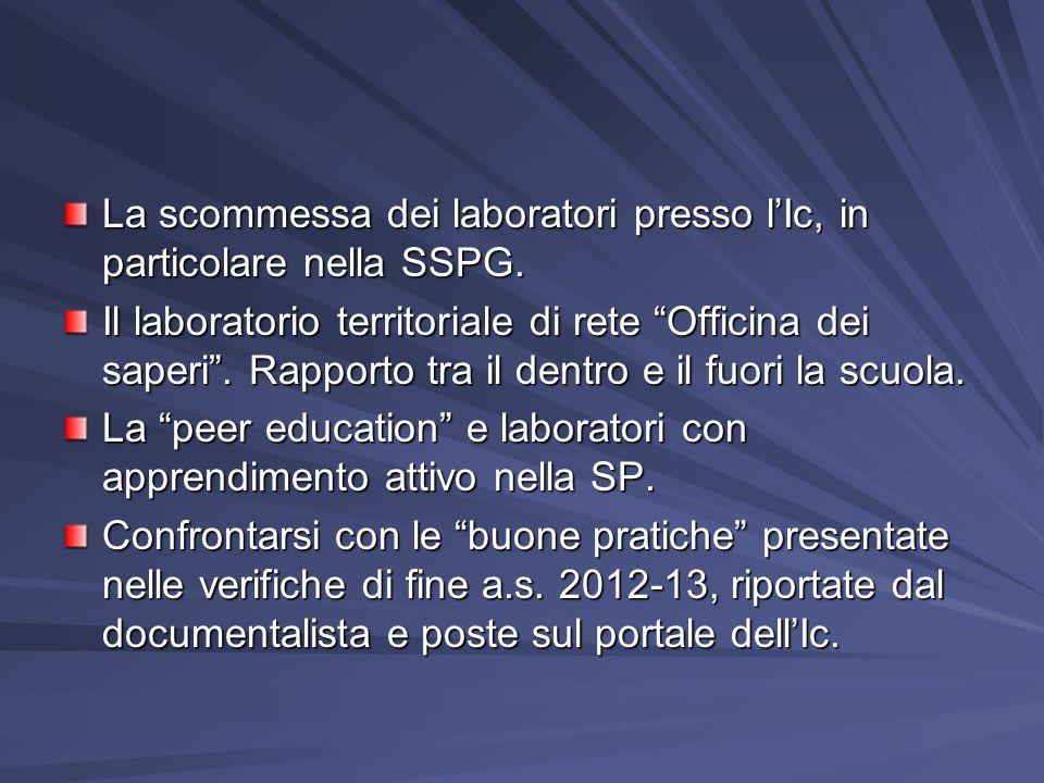 La scommessa dei laboratori presso lIc, in particolare nella SSPG. Il laboratorio territoriale di rete Officina dei saperi. Rapporto tra il dentro e i