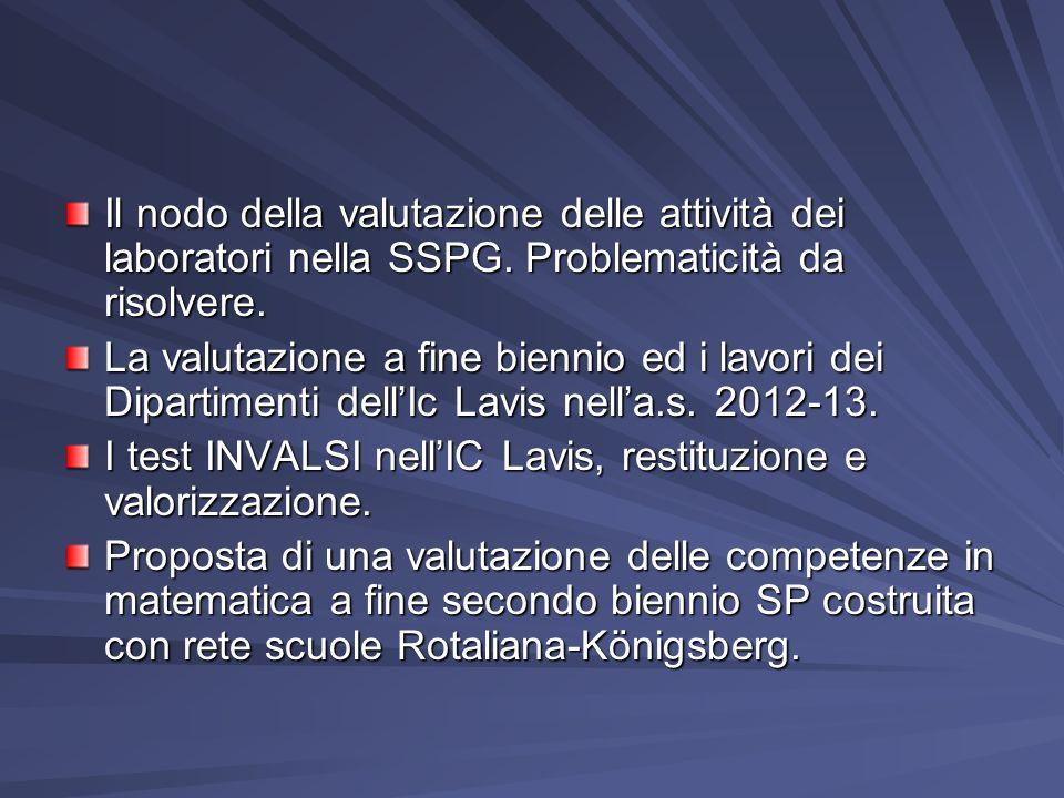 Il nodo della valutazione delle attività dei laboratori nella SSPG. Problematicità da risolvere. La valutazione a fine biennio ed i lavori dei Diparti