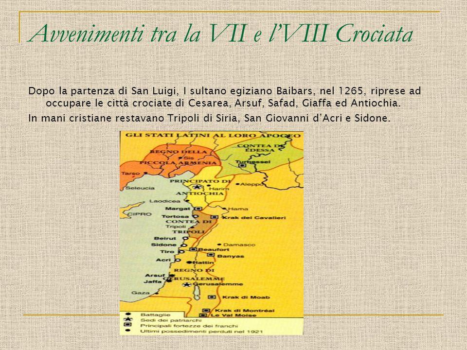 Avvenimenti tra la VII e lVIII Crociata Dopo la partenza di San Luigi, I sultano egiziano Baibars, nel 1265, riprese ad occupare le città crociate di