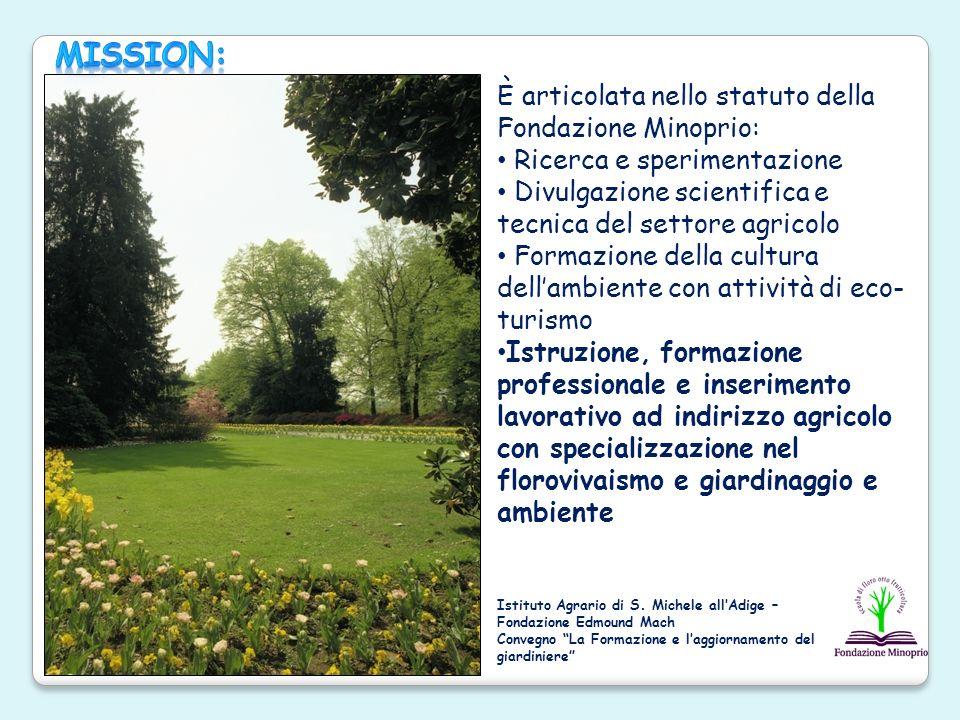 È articolata nello statuto della Fondazione Minoprio: Ricerca e sperimentazione Divulgazione scientifica e tecnica del settore agricolo Formazione del