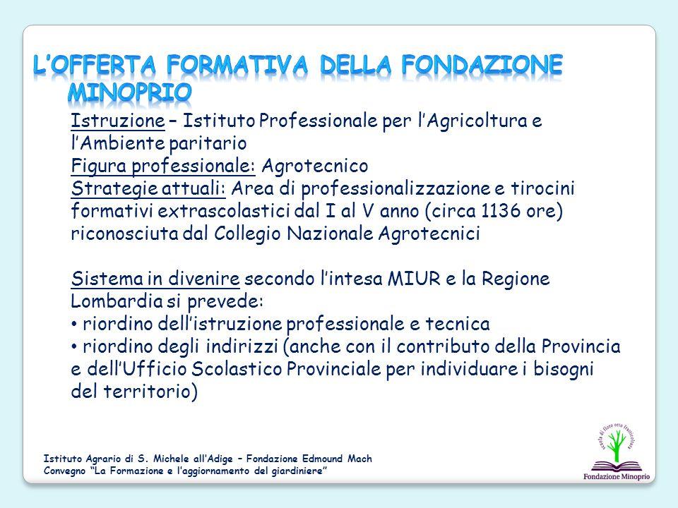 Istruzione – Istituto Professionale per lAgricoltura e lAmbiente paritario Figura professionale: Agrotecnico Strategie attuali: Area di professionaliz
