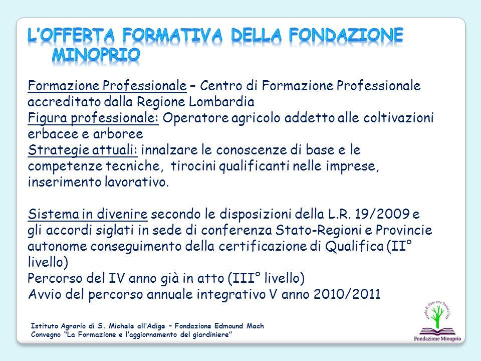 Formazione Professionale – Centro di Formazione Professionale accreditato dalla Regione Lombardia Figura professionale: Operatore agricolo addetto all