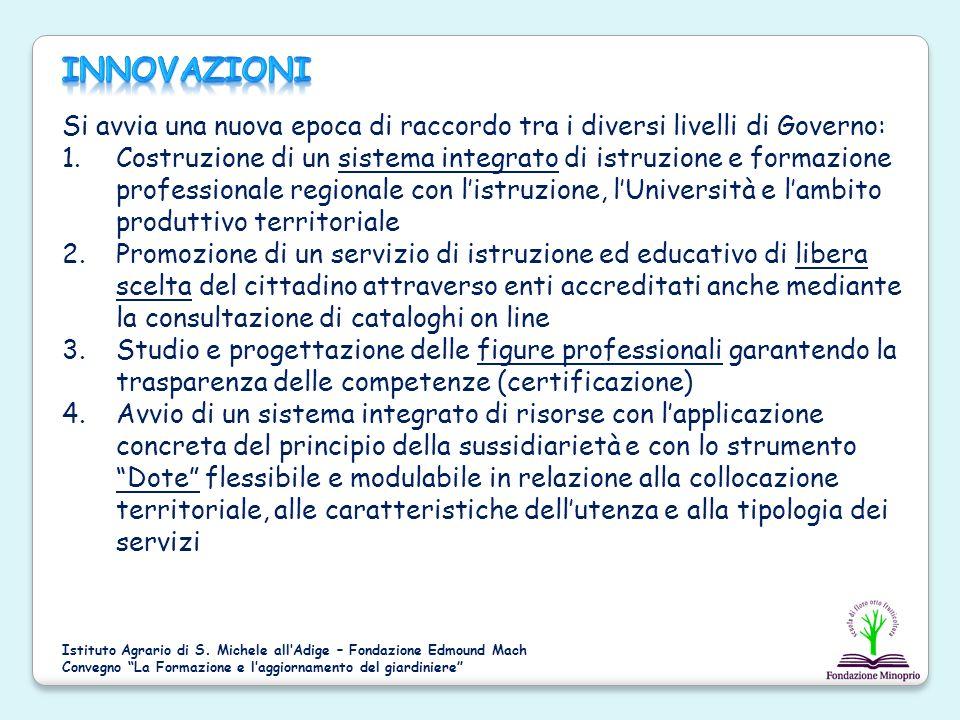 Si avvia una nuova epoca di raccordo tra i diversi livelli di Governo: 1.Costruzione di un sistema integrato di istruzione e formazione professionale