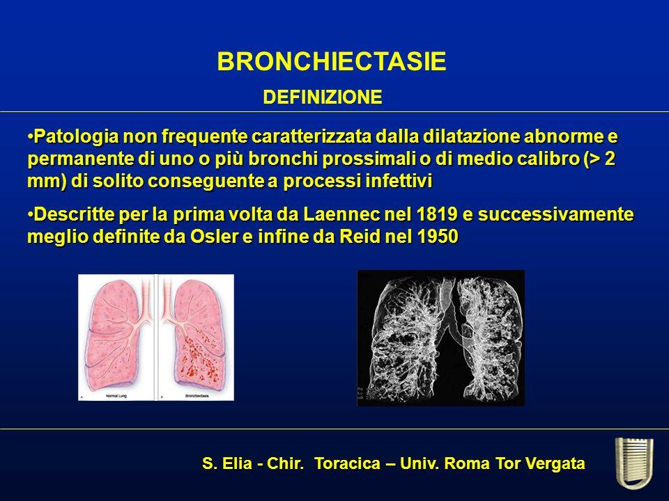 BRONCHIECTASIE S. Elia - Chir. Toracica – Univ. Roma Tor Vergata Patologia non frequente caratterizzata dalla dilatazione abnorme e permanente di uno
