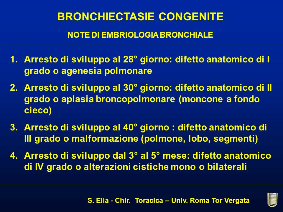 BRONCHIECTASIE CONGENITE NOTE DI EMBRIOLOGIA BRONCHIALE 1.