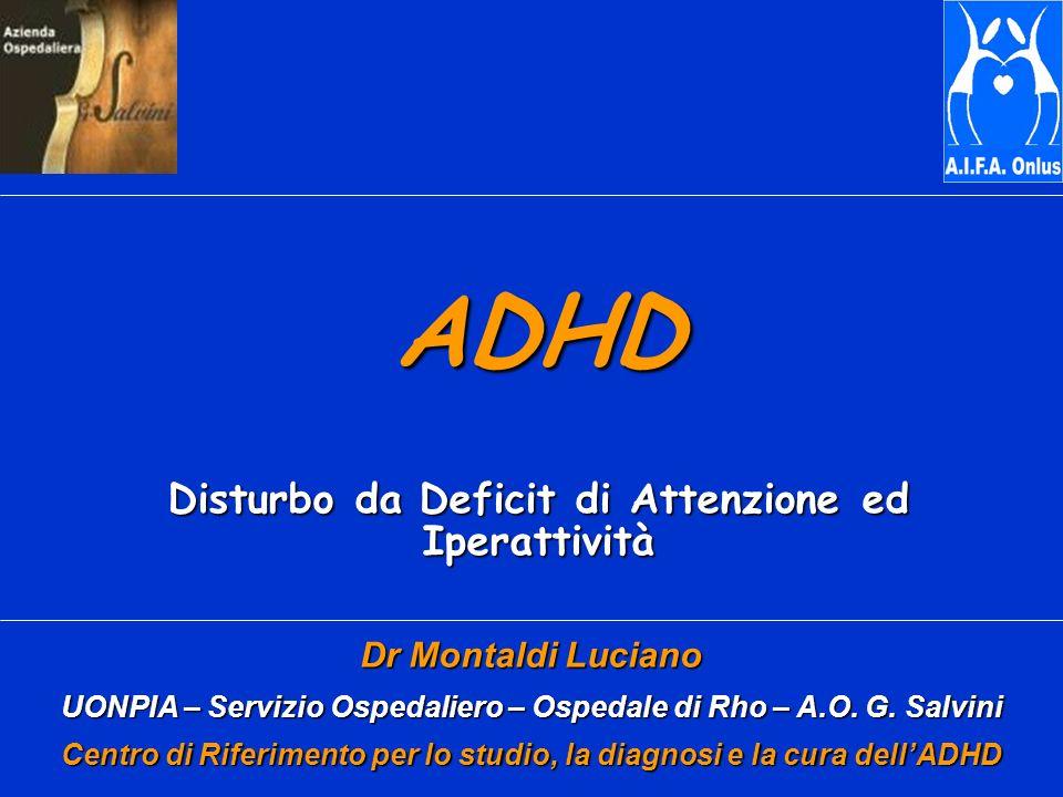 Comorbidità Psichiatrica Studio MTA, bambini ADHD di età 7-9 Disturbo Oppositivo-provocatorio: 40% Disturbi dAnsia: 34% Disturbo di Condotta:14% Disturbo da Tic:11% Depressione: 4% Mania-Ipomania: 2%