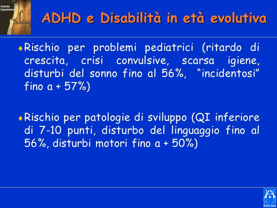 ADHD e Disabilità in età evolutiva Rischio per problemi pediatrici (ritardo di crescita, crisi convulsive, scarsa igiene, disturbi del sonno fino al 5