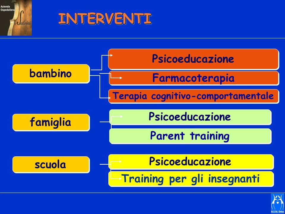 bambino famiglia scuola Terapia cognitivo-comportamentale Farmacoterapia Psicoeducazione Training per gli insegnanti Parent training Psicoeducazione I