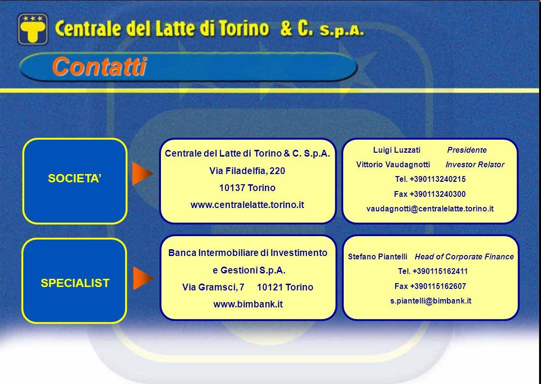 Contatti Centrale del Latte di Torino & C. S.p.A. Via Filadelfia, 220 10137 Torino www.centralelatte.torino.it Luigi LuzzatiPresidente Vittorio Vaudag