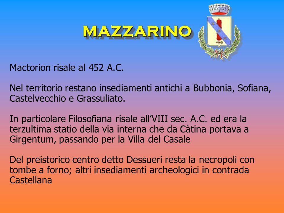 Mactorion risale al 452 A.C. Nel territorio restano insediamenti antichi a Bubbonia, Sofiana, Castelvecchio e Grassuliato. In particolare Filosofiana