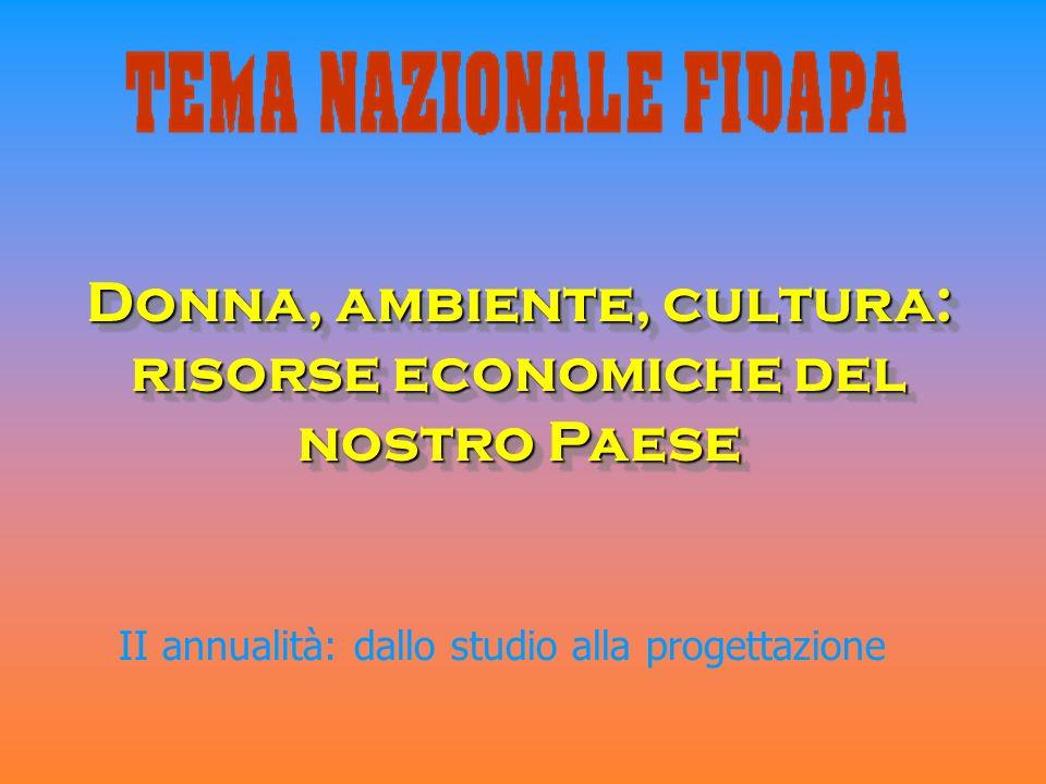Donna, ambiente, cultura: risorse economiche del nostro Paese II annualità: dallo studio alla progettazione