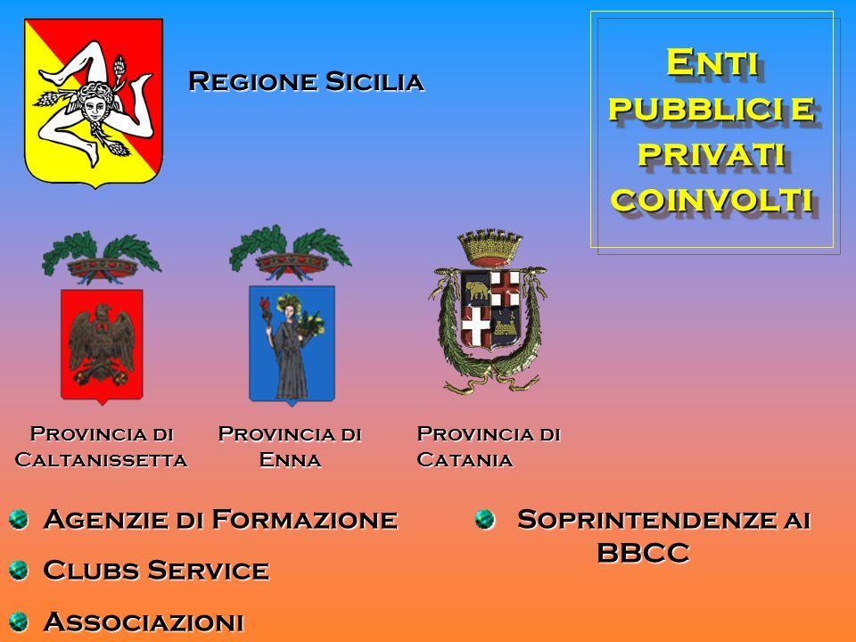 Enti pubblici e privati coinvolti Regione Sicilia Provincia di Caltanissetta Provincia di Enna Provincia di Catania Soprintendenze ai BBCC Soprintende
