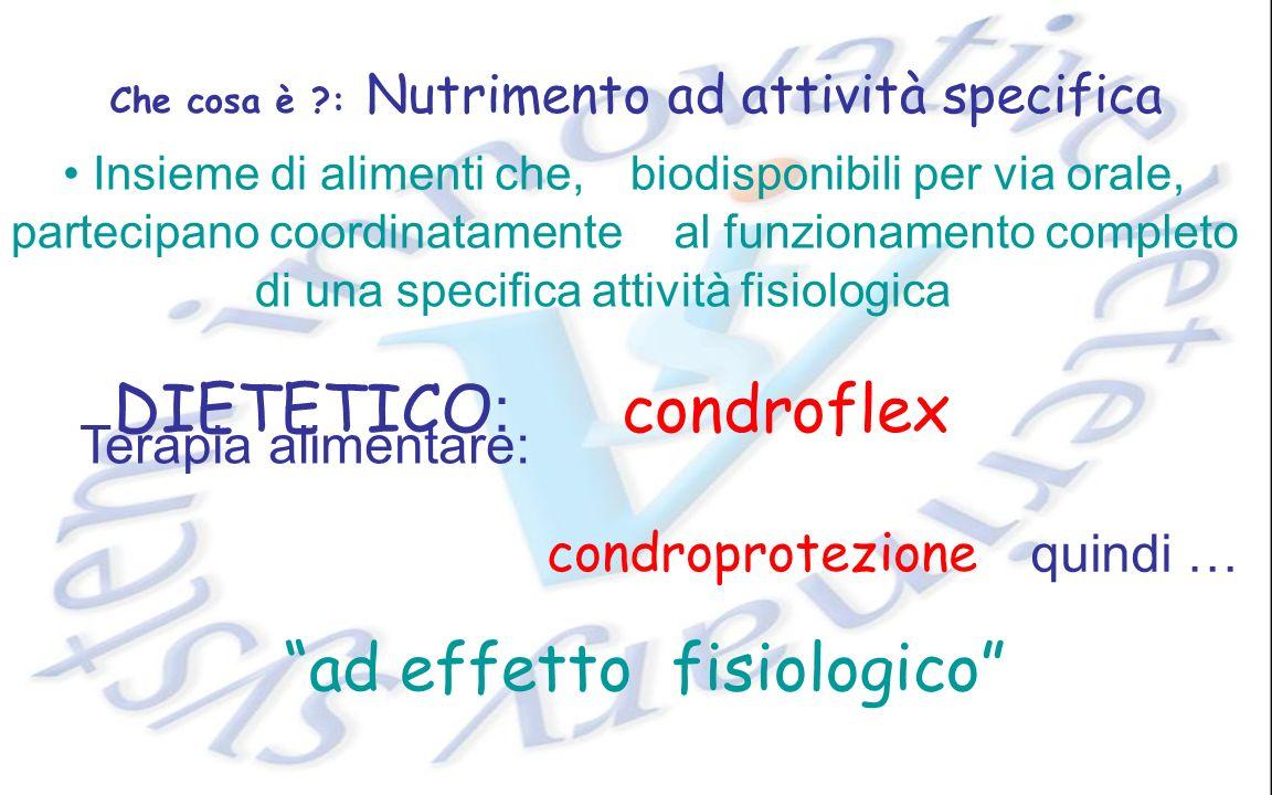 Che cosa è ?: Nutrimento ad attività specifica al funzionamento completo condroprotezione ad effetto fisiologico Insieme di alimenti che,biodisponibil