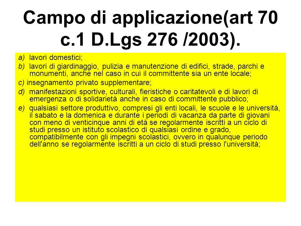 Campo di applicazione(art 70 c.1 D.Lgs 276 /2003). a) lavori domestici; b) lavori di giardinaggio, pulizia e manutenzione di edifici, strade, parchi e