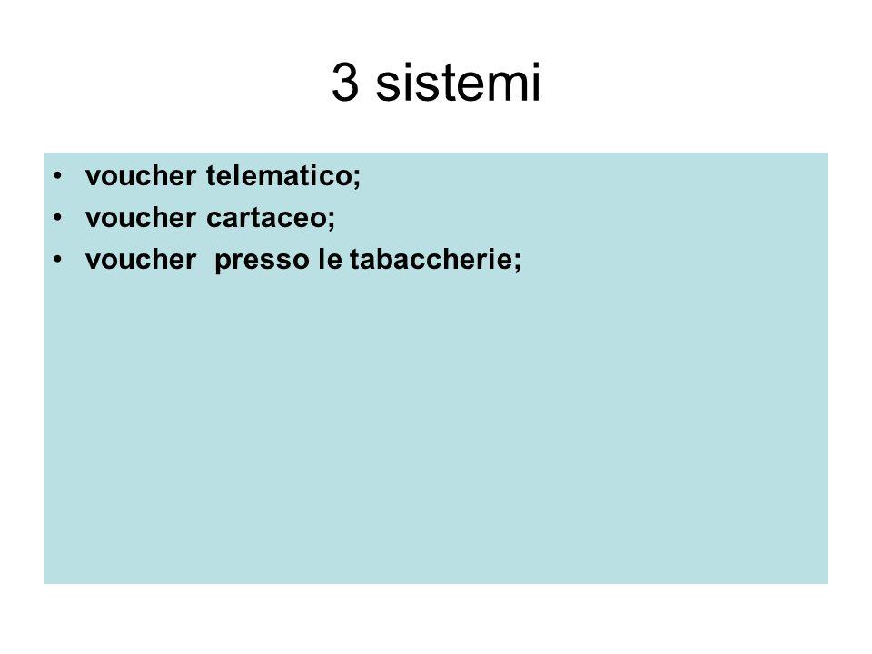 3 sistemi voucher telematico; voucher cartaceo; voucher presso le tabaccherie;