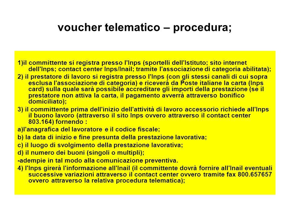 voucher telematico – procedura; 1)il committente si registra presso l'Inps (sportelli dell'Istituto; sito internet dell'Inps; contact center Inps/Inai
