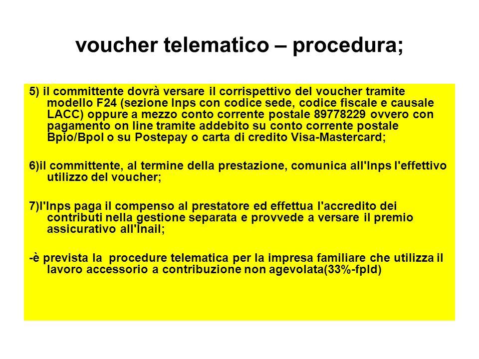 voucher telematico – procedura; 5) il committente dovrà versare il corrispettivo del voucher tramite modello F24 (sezione Inps con codice sede, codice