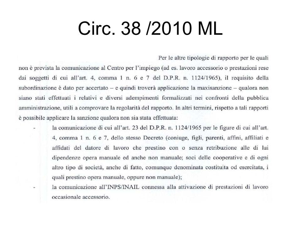 Circ. 38 /2010 ML