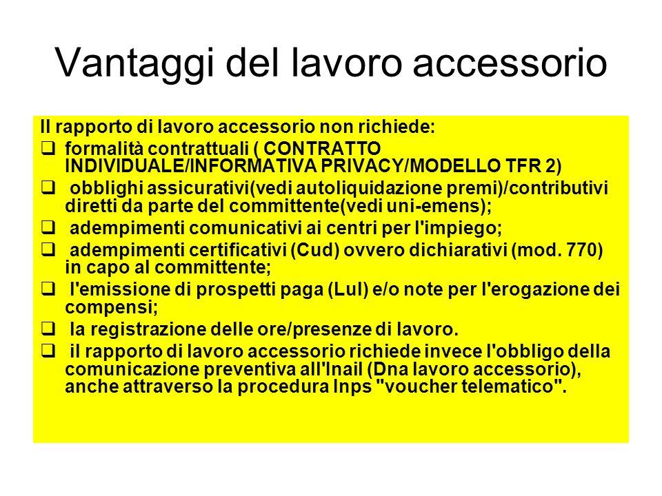 Vantaggi del lavoro accessorio Il rapporto di lavoro accessorio non richiede: formalità contrattuali ( CONTRATTO INDIVIDUALE/INFORMATIVA PRIVACY/MODEL