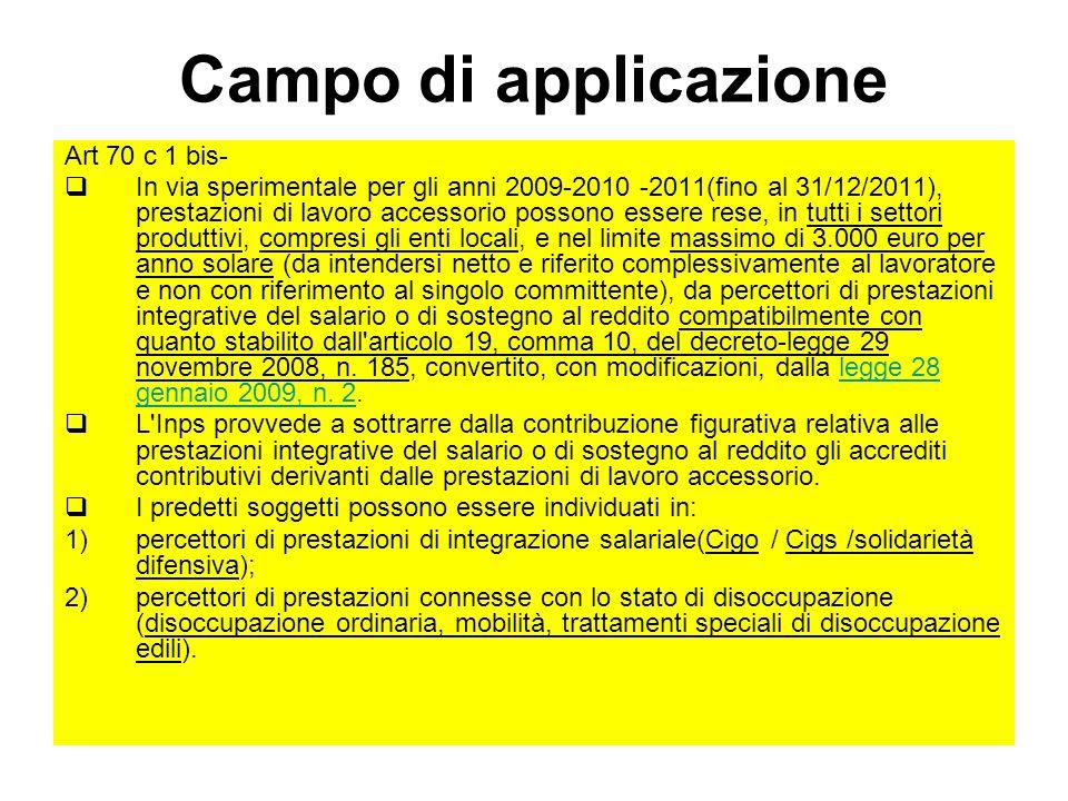 Campo di applicazione Art 70 c 1 bis- In via sperimentale per gli anni 2009-2010 -2011(fino al 31/12/2011), prestazioni di lavoro accessorio possono e