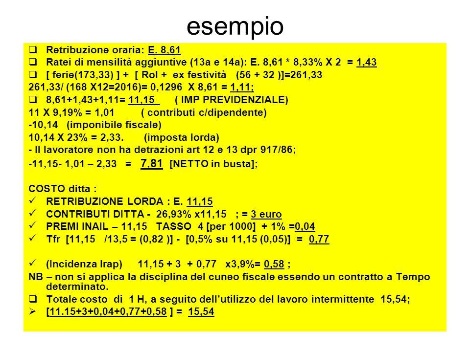 esempio Retribuzione oraria: E. 8,61 Ratei di mensilità aggiuntive (13a e 14a): E. 8,61 * 8,33% X 2 = 1,43 [ ferie(173,33) ] + [ Rol + ex festività (5