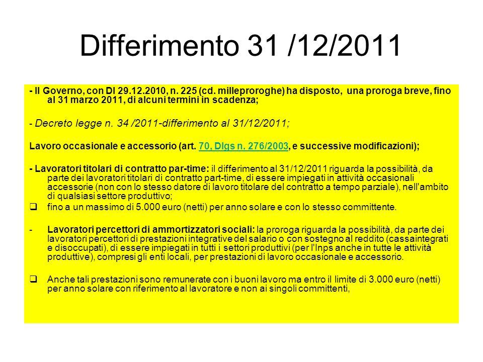 Differimento 31 /12/2011 - Il Governo, con Dl 29.12.2010, n. 225 (cd. milleproroghe) ha disposto, una proroga breve, fino al 31 marzo 2011, di alcuni