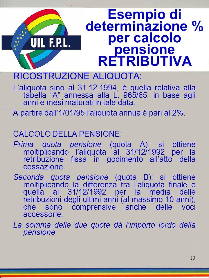 13 Esempio di determinazione % per calcolo pensione RETRIBUTIVA RICOSTRUZIONE ALIQUOTA: Laliquota sino al 31.12.1994, è quella relativa alla tabella A