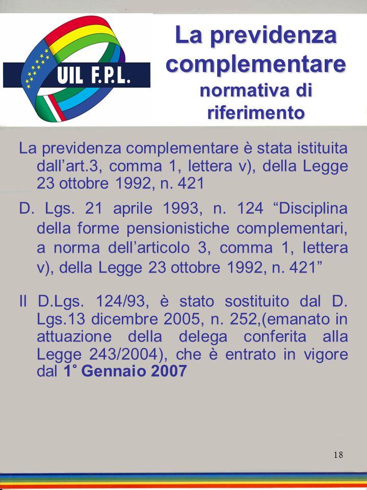 18 La previdenza complementare normativa di riferimento La previdenza complementare è stata istituita dallart.3, comma 1, lettera v), della Legge 23 o
