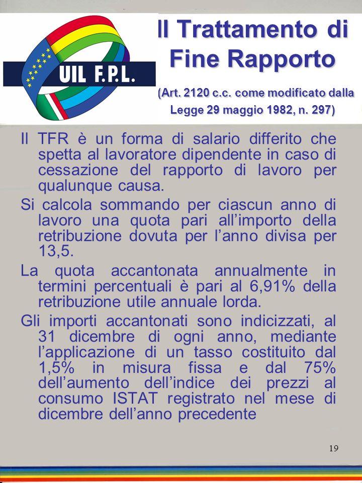 19 Il Trattamento di Fine Rapporto (Art. 2120 c.c. come modificato dalla Legge 29 maggio 1982, n. 297) Il TFR è un forma di salario differito che spet