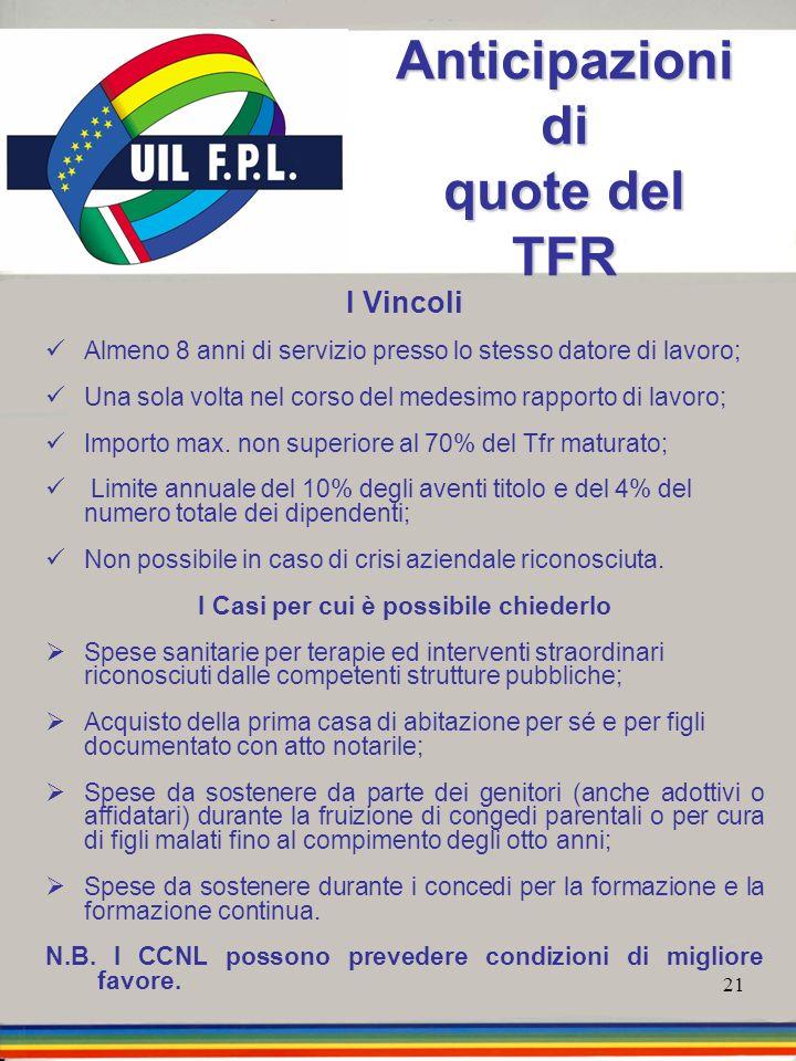 21 Anticipazioni di quote del TFR I Vincoli Almeno 8 anni di servizio presso lo stesso datore di lavoro; Una sola volta nel corso del medesimo rapport