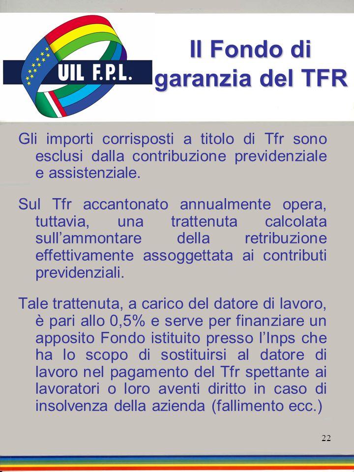 22 Il Fondo di garanzia del TFR Gli importi corrisposti a titolo di Tfr sono esclusi dalla contribuzione previdenziale e assistenziale. Sul Tfr accant