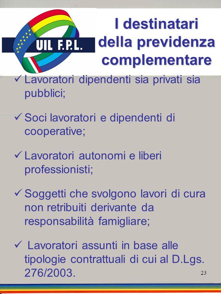 23 I destinatari della previdenza complementare Lavoratori dipendenti sia privati sia pubblici; Soci lavoratori e dipendenti di cooperative; Lavorator