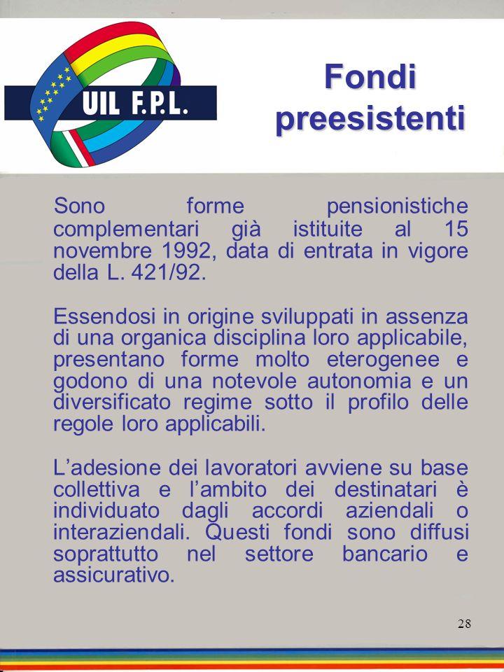 28 Fondi preesistenti Sono forme pensionistiche complementari già istituite al 15 novembre 1992, data di entrata in vigore della L. 421/92. Essendosi