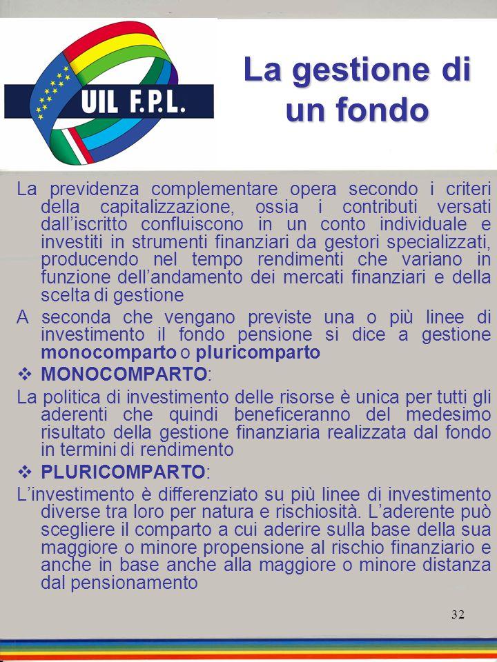32 La gestione di un fondo La previdenza complementare opera secondo i criteri della capitalizzazione, ossia i contributi versati dalliscritto conflui