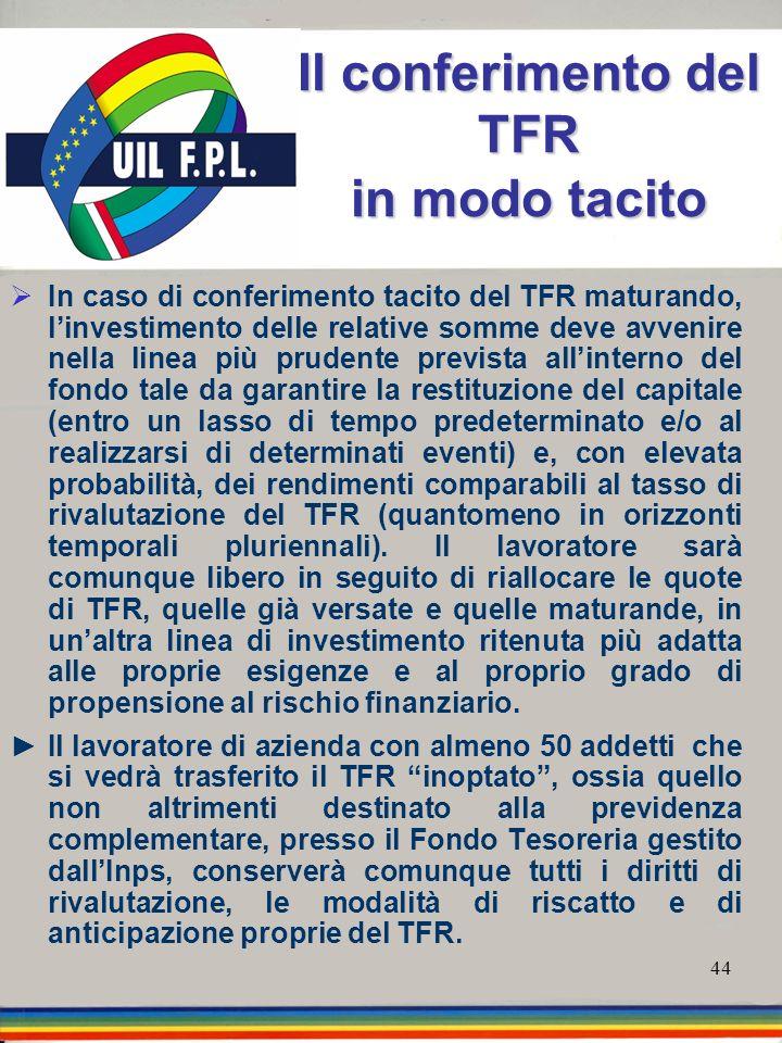 44 Il conferimento del TFR in modo tacito In caso di conferimento tacito del TFR maturando, linvestimento delle relative somme deve avvenire nella lin