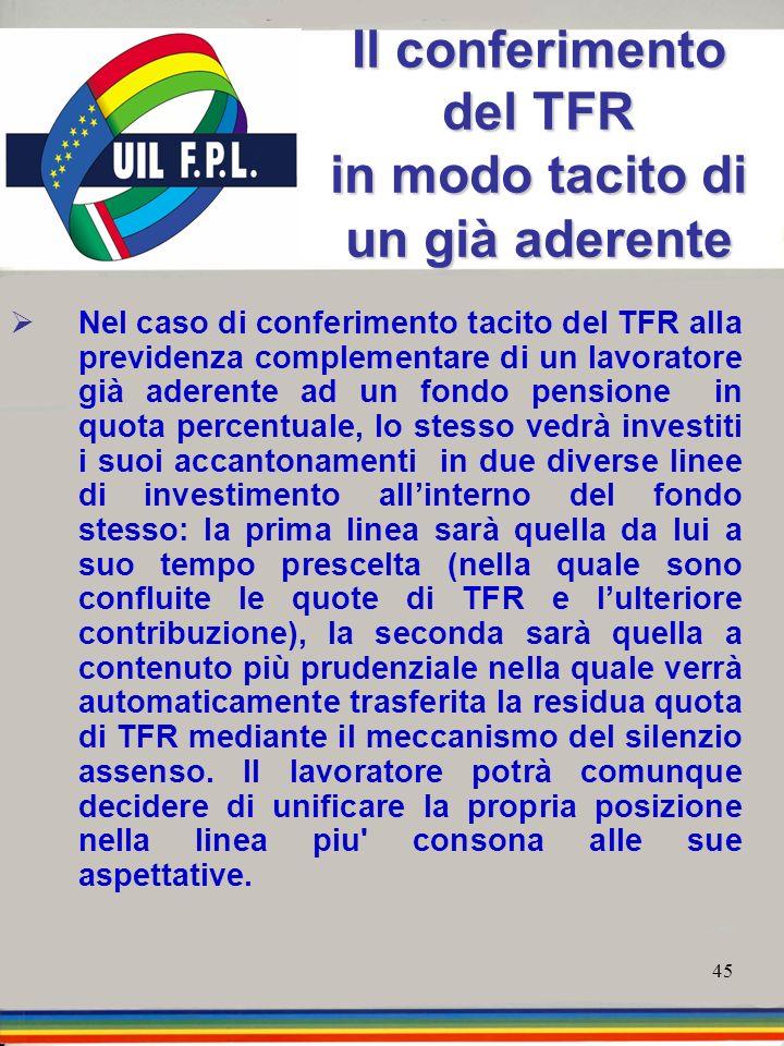 45 Il conferimento del TFR in modo tacito di un già aderente Nel caso di conferimento tacito del TFR alla previdenza complementare di un lavoratore gi