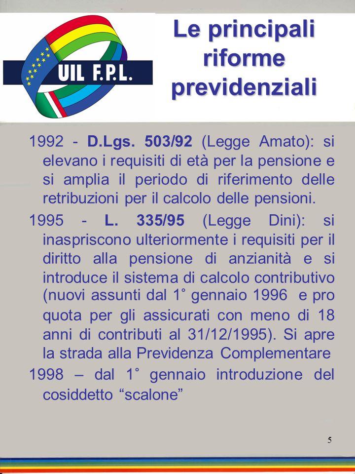 5 Le principali riforme previdenziali 1992 - D.Lgs. 503/92 (Legge Amato): si elevano i requisiti di età per la pensione e si amplia il periodo di rife