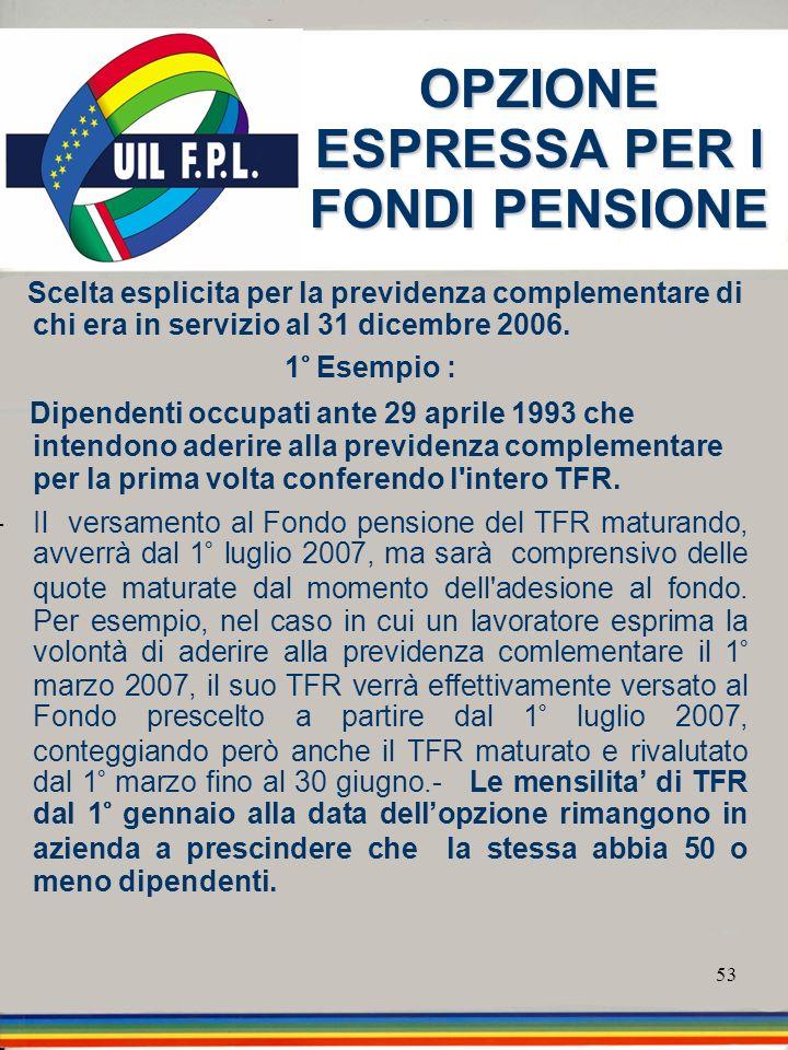 53 OPZIONE ESPRESSA PER I FONDI PENSIONE Scelta esplicita per la previdenza complementare di chi era in servizio al 31 dicembre 2006. 1° Esempio : Dip