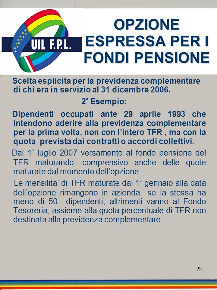 54 OPZIONE ESPRESSA PER I FONDI PENSIONE Scelta esplicita per la previdenza complementare di chi era in servizio al 31 dicembre 2006. 2° Esempio: Dipe