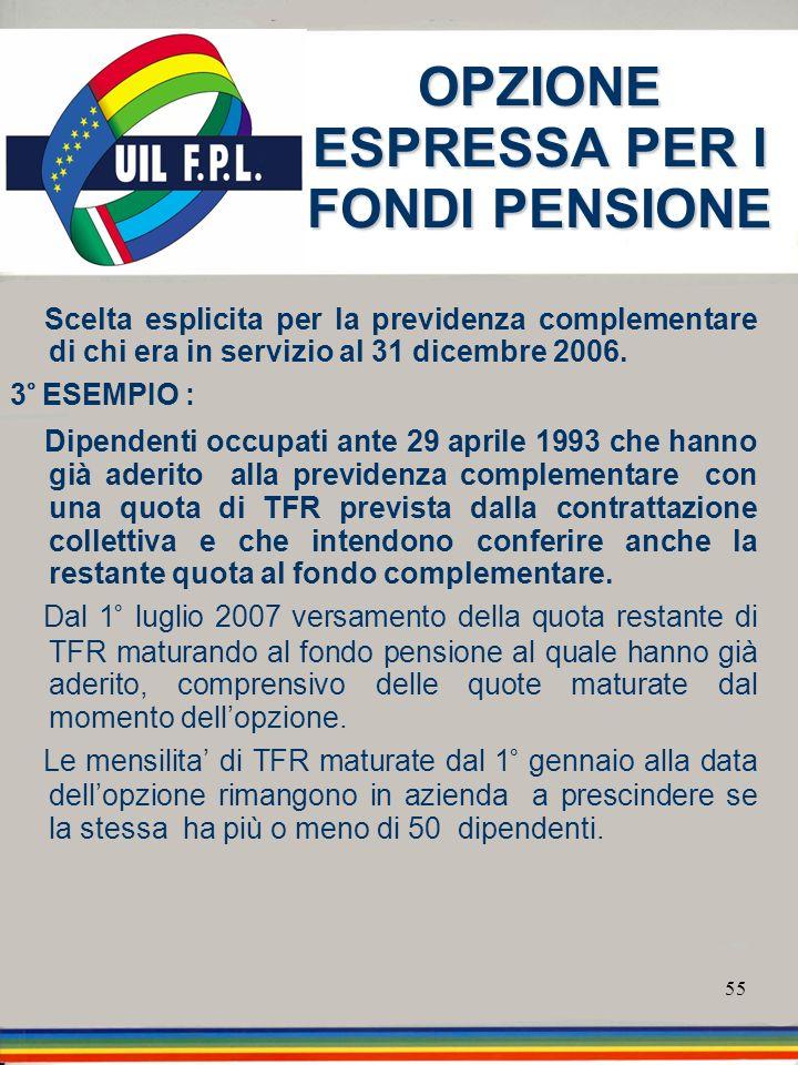 55 OPZIONE ESPRESSA PER I FONDI PENSIONE Scelta esplicita per la previdenza complementare di chi era in servizio al 31 dicembre 2006. 3° ESEMPIO : Dip