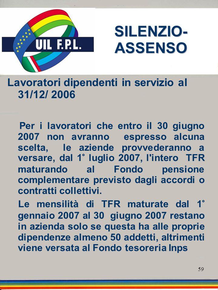 59 SILENZIO- ASSENSO Lavoratori dipendenti in servizio al 31/12/ 2006 Per i lavoratori che entro il 30 giugno 2007 non avranno espresso alcuna scelta,