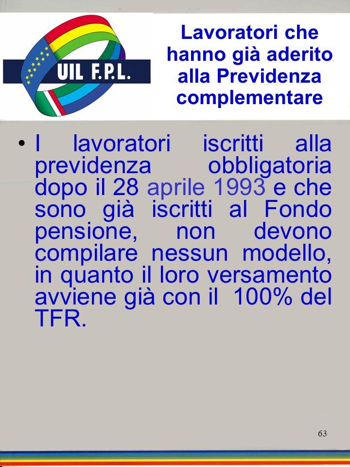 63 Lavoratori che hanno già aderito alla Previdenza complementare I lavoratori iscritti alla previdenza obbligatoria dopo il 28 aprile 1993 e che sono