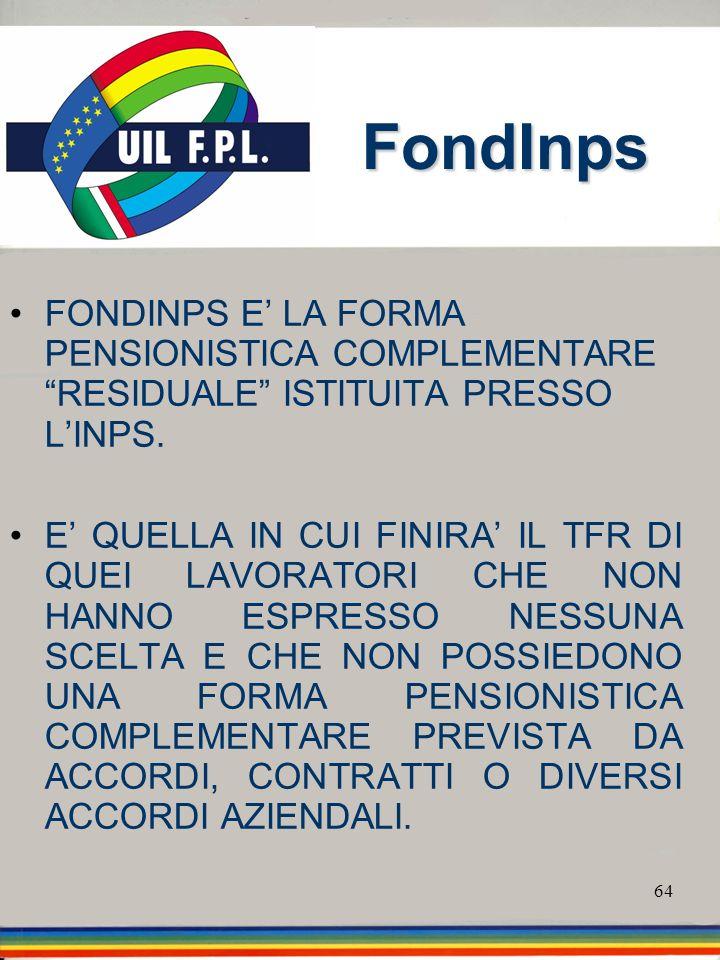 64 FondInps FONDINPS E LA FORMA PENSIONISTICA COMPLEMENTARE RESIDUALE ISTITUITA PRESSO LINPS. E QUELLA IN CUI FINIRA IL TFR DI QUEI LAVORATORI CHE NON