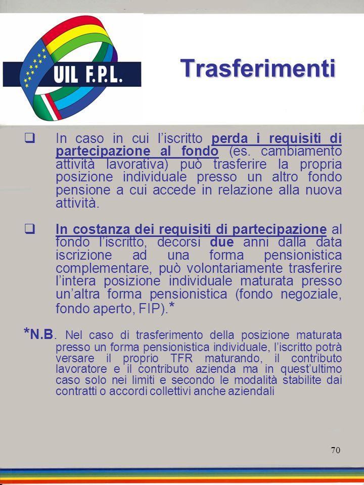 70 Trasferimenti In caso in cui liscritto perda i requisiti di partecipazione al fondo (es. cambiamento attività lavorativa) può trasferire la propria