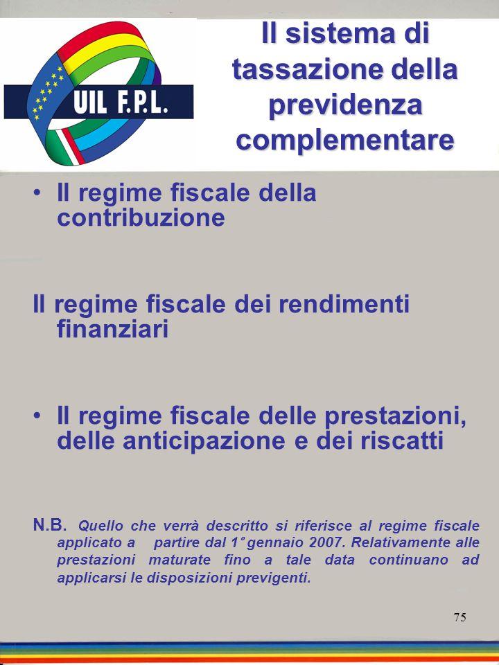 75 Il sistema di tassazione della previdenza complementare Il regime fiscale della contribuzione Il regime fiscale dei rendimenti finanziari Il regime