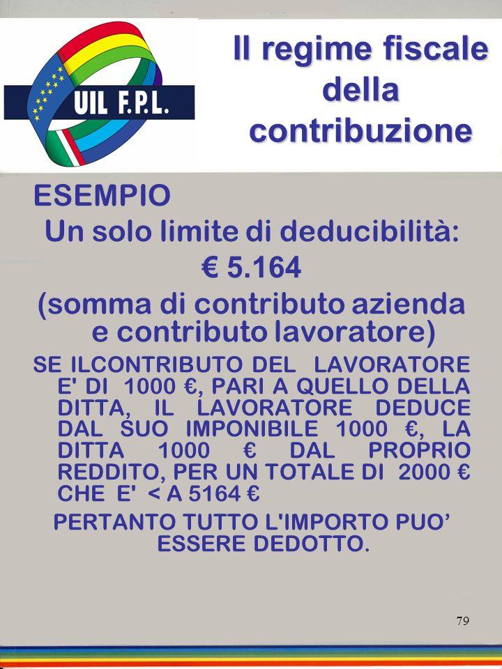 79 Il regime fiscale della contribuzione ESEMPIO Un solo limite di deducibilità: 5.164 5.164 (somma di contributo azienda e contributo lavoratore) SE