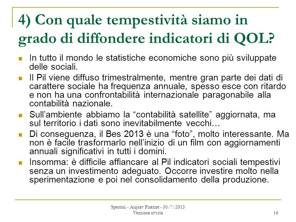4) Con quale tempestività siamo in grado di diffondere indicatori di QOL.