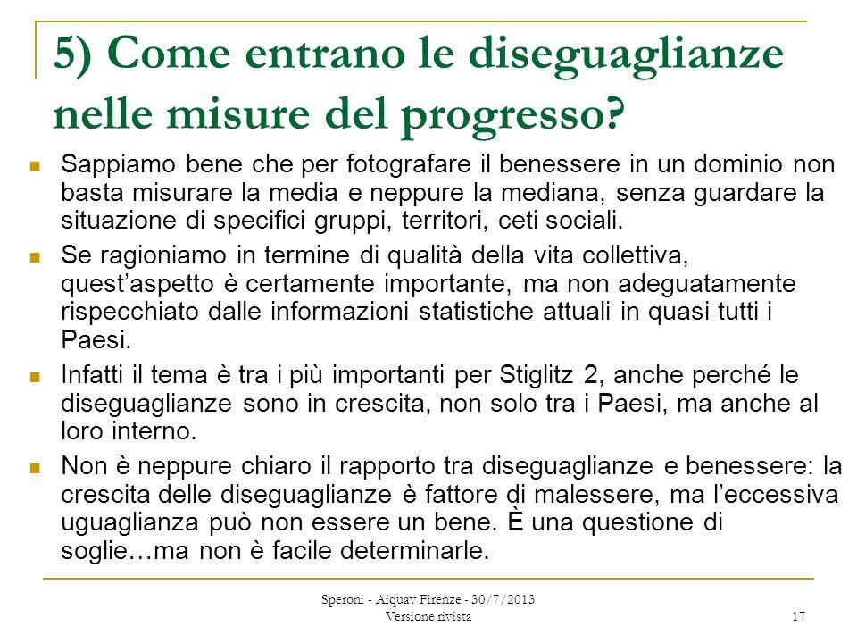 5) Come entrano le diseguaglianze nelle misure del progresso.