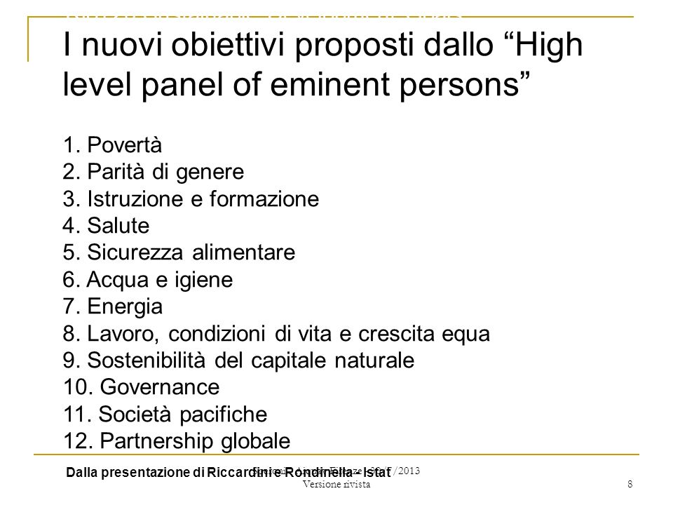 I nuovi obiettivi proposti dallo High level panel of eminent persons 1.