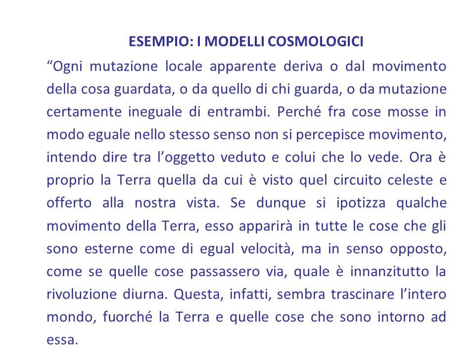 ESEMPIO: I MODELLI COSMOLOGICI Ogni mutazione locale apparente deriva o dal movimento della cosa guardata, o da quello di chi guarda, o da mutazione c